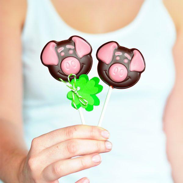 Silvester Schweinchen Schokolollies